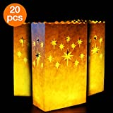 Go Luminary Bags | Special 20 Pcs Luminary Bags with Stars | Durable and Reusable Fire-Retardant Cotton Material | Superb for Wedding, Valentine, Engagement, or Marriage Proposal | White | 326.2