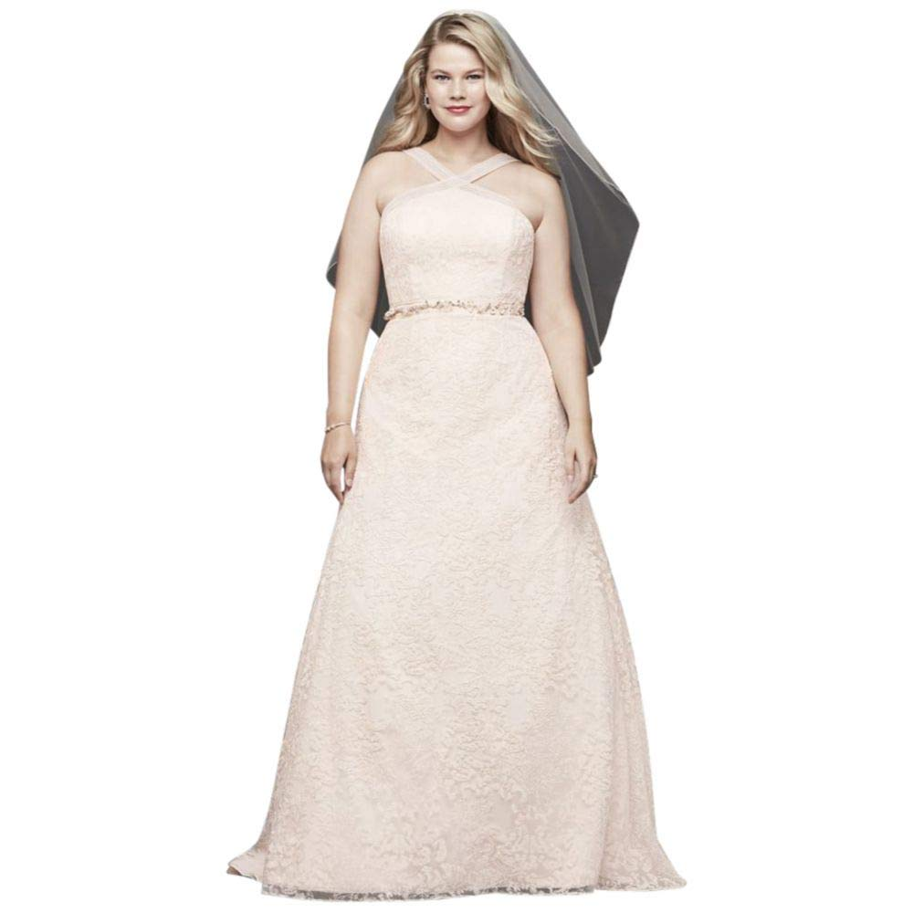 Embroidered Lace Y Neck Plus Size Wedding Dress Style 9wg3928 At