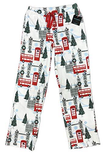 Whimsical European Destination Womens Novelty Christmas Holiday Sleepwear Lounge Pajama Pants (X-Small, White, London) from Cynthia Rowley