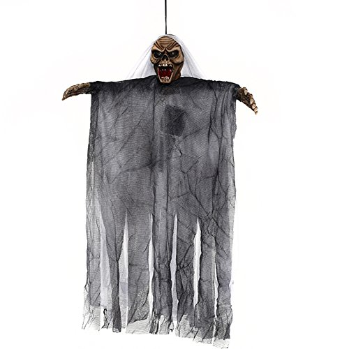 ARTSTORE Animated Hanging Skeleton Ghost,Electric Halloween Decoration with Sound and Flashing Eyes for Haunted House,Party,Horror Theme Bar,White