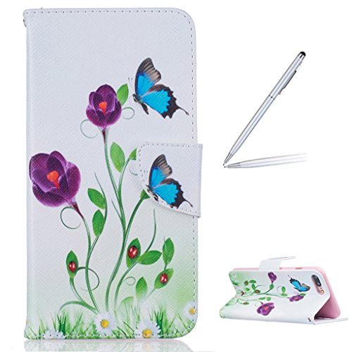 Trumpshop Smartphone Carcasa Funda Protección para Apple iPhone 7 Plus (5.5-Pulgada) + Mariposas Blancas + PU Cuero Caja Protector Billetera con Cierre magnético Choque Absorción Las mariposas azules