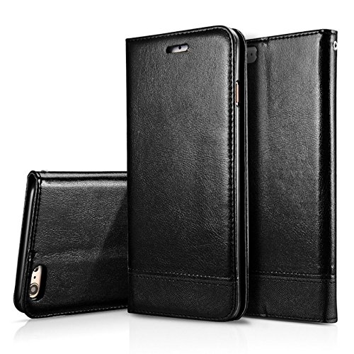 iPhon6/6S Case, NDLBS Premium PU Leather [Wallet Kickstand] Case All-Powerful Cover for Apple iPhone6/6s(Black)