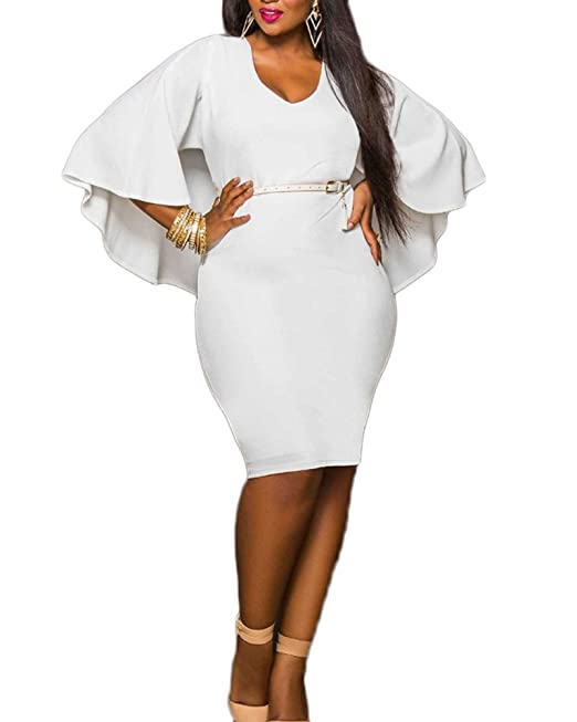 Vestidos Para Mujer V-Cuello Capa Vestidos De Fiesta Bodycon Cortos Vestidos Talla Grande Blanco