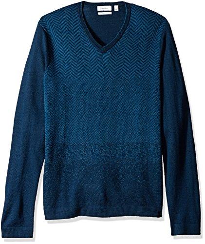 Herringbone Sweater V-neck (Calvin Klein Men's Merino Herringbone V-Neck Sweater, Blue, X-Large)