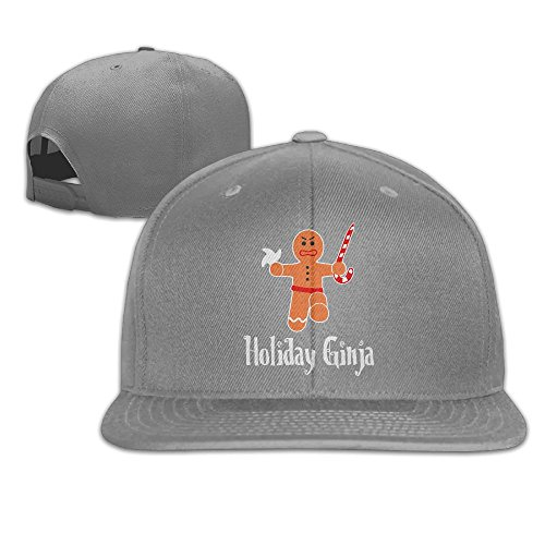 Yishuo Men's HOLIDAY GINJA-NINJA GINGERBREAD MAN Classic Football Ash Hats Adjustable Snapback