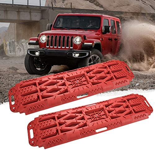 Set of 2 ORCISH Recovery Traction Boards Tracks Tire Ladder with Jack Lift Base for Sand Snow Mud 4WD Orange