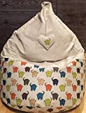 Bean bag chair Natural linen cover With heart Love gift Elephant beanbag for kids Colorful adults floor pillow With insert Filling is not included