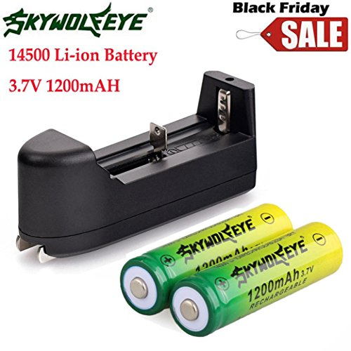 OVERMAL 2PCS 14500 3.7V 1200mAH BRC Lithium Rechargeable Li-ion Battery + Smart Charger