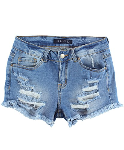 BLBD Women's Distressed High Waisted Denim Shorts Light Small