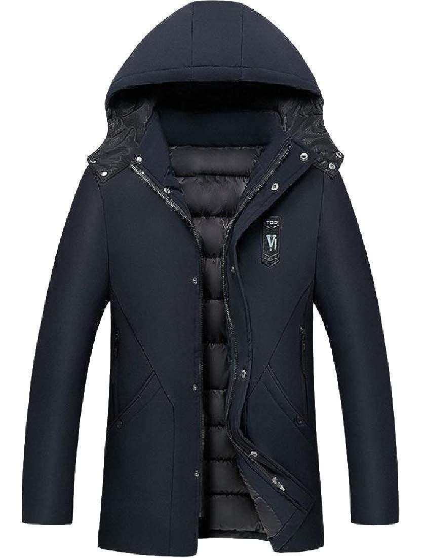 Vska Men Hooded Waterproof Mid Long Puffer Jacket with Chin Guard