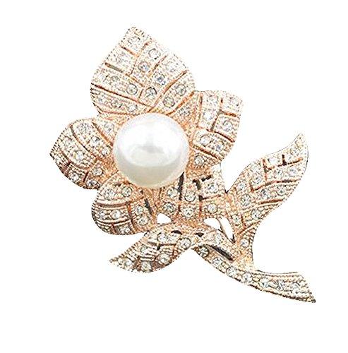 fabl Crew Mode Rose broche con perla strass boda novia pin vestido ropa bufandas decoración accesorios para mujer Chica
