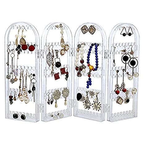 Cq acrylic 240 Earring Holder Jewelry Hanger Organizer Foldable Acrylic Earring Screen Display Stand Hanging Earrings Bracelets Necklaces 4-Panel