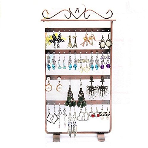 etruke 48 Loch Ohrringe Schmuck Display Rack Metall Ständer Halter Rack bronze