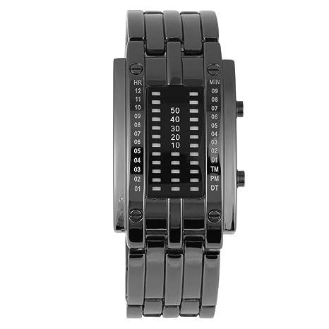 Reloj de Pulsera Digital Creativo Reloj de Luz LED Electrónica con Correa de Acero(S