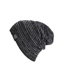 LUNIWEI Women Men Knitted Woolen Baggy Beanie Winter Warm Cap Solid Hat