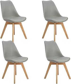 Eggree 4er Set Esszimmerstühle Skandinavisch Küchenstuhl Stühle Modern Mit Massivholz Eiche Bein Und Kunstlederkissen Grau