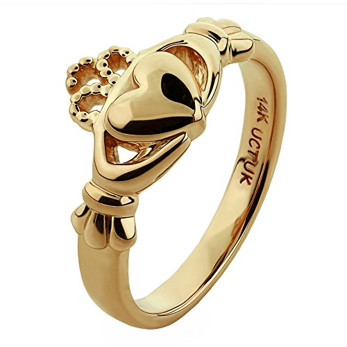 14K Yellow Gold ULG-6163Y Claddagh Ring - Size: 7