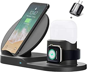 3 in 1 Charging Station for Apple, Upgraded Version Wireless Charger, Wireless Charging Station for Apple Watch 5/4/3/2/1 & Airpods 1/2/Pro & iPhone 11/11 Pro Max/XR/XS/X/8/8P (Black)