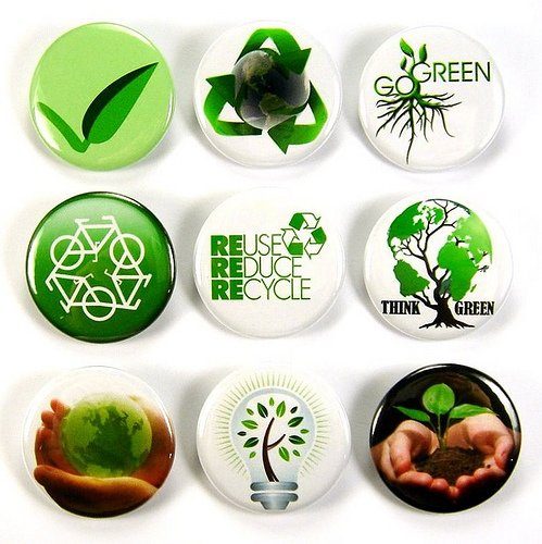 Set of 9 REDUCE REUSE RECYCLE Pinback Button 1.25