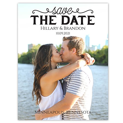 Portrait Photo Save The Date 4 1/4 x 5 1/2 - Set of 20 - Plain White Envelopes Only - Custom Wedding Invitations and Announcements - Personalized Cards (Invitation Announcement Wording Wedding)