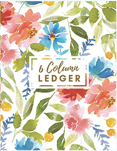 6 Column Ledger: Red Floral Watercolor Accounting Journal Columnar Pad Record Book Accounting Ledger Notebook Business Bookkeeping Home Office School. (Accounting Ledger 6 Column Journal)