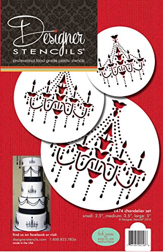 Designer Stencils C474 Chandelier Stencil Set Cake and Cookie Stencils, Beige/Semi-Transparent ()