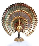 Hashcart Peacock Statue in Decorative Colorful Brass, Good Luck, Finish - Discount- for Home Decor/Gift/ Office