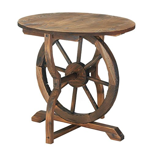 (Summerfield Terrace Accent Table, Wagon Wheel Outdoor Round Side Decor Rustic Patio Table)