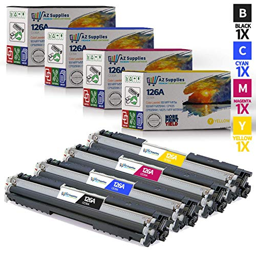 AZ Supplies Compatible Replacement Toner Cartridge Set for HP 126A, CE310A, CE311A, CE312A, CE313A for use in CP1025, CP1025nw, Laserjet Pro 100 Color MFP M175nw, TopShot Laserjet Pro M275 MFP. (Hp Laserjet 126a)