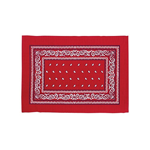 (C&F Home Set of 4 Pcs, 13x19 Quilted Placemat,Bandana Red)