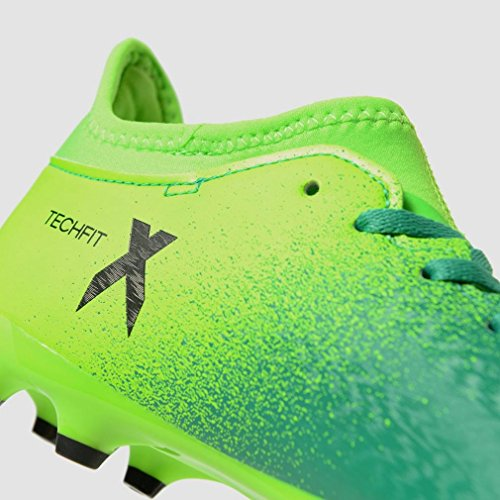 Adidas x 16.3FG J–Chaussures montantes de fútbolpara enfants, vert–(Versol/negbas/verbas), 29