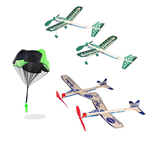 Balsa Wood Airplane Glider and Parachute Man Rubber Band Powered Sky Streak and Captain Storm Twin Packs 5 Piece Set by Guillow (Image #8)