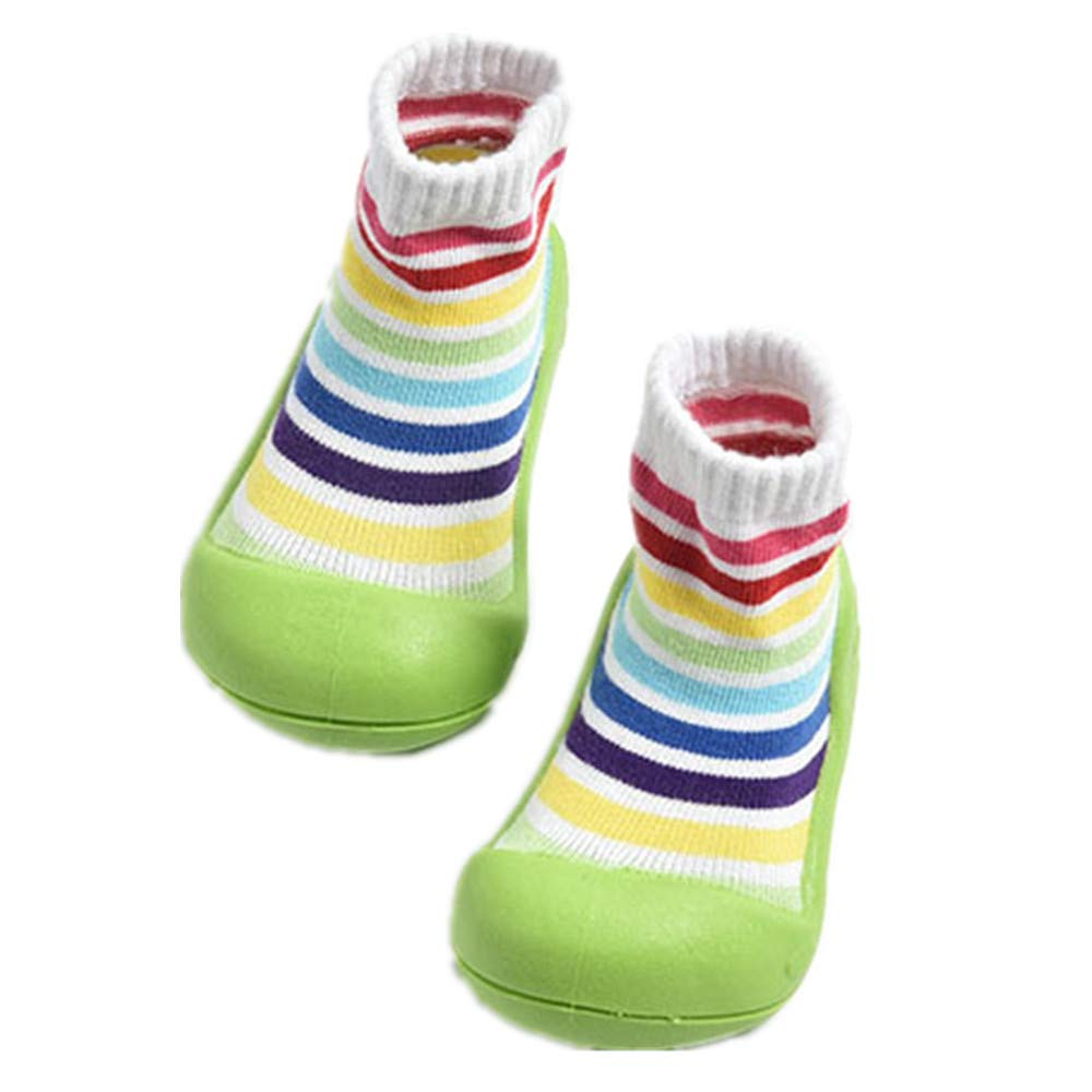 Toddler//Little Kid//Big Kid EU 120//4 M US Toddler-Green Baby Cotton Sock Shoes,Soft Anti Slip Sole Winter Knit Socks Boots