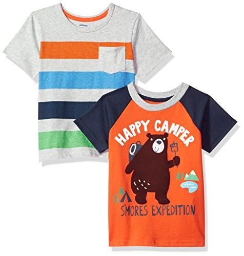 Gerber Graduates Boys' Baby 2 Pack Short Sleeve Top, Camper/Gray, 24 Months