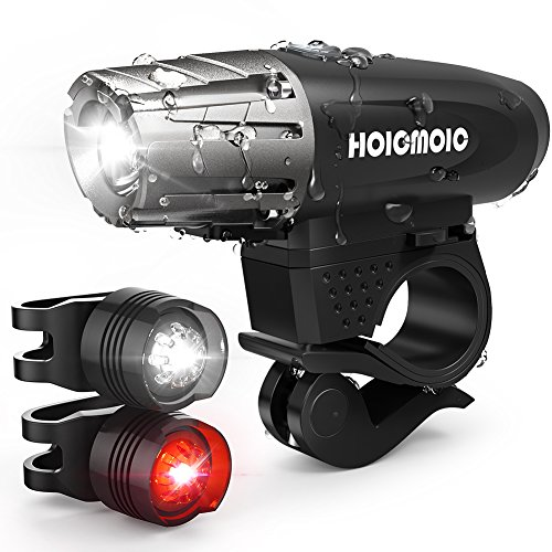 Hoicmoic USB Rechargeable Bike Lights, Bright Waterproof LED Bicycle Front and Rear Lights for Kids Men Women Safe Cycling, 1 Headlight, 1 Red Taillight and 1 White Bicycle Light for Versatile Usages Image