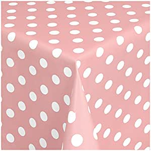 MG Oilcloth-Tablecloth Washable Dots Pink - White ( 150-11 ) - 390 X 140 Cm