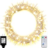 Ollny Outdoor Fairy String Lights 200 LEDs 66ft with Remote and Timer Plug in Indoor Christmas Lights Warm White Waterproof for Bedroom Wall Garden Decoration 8 Modes (Low Voltage)