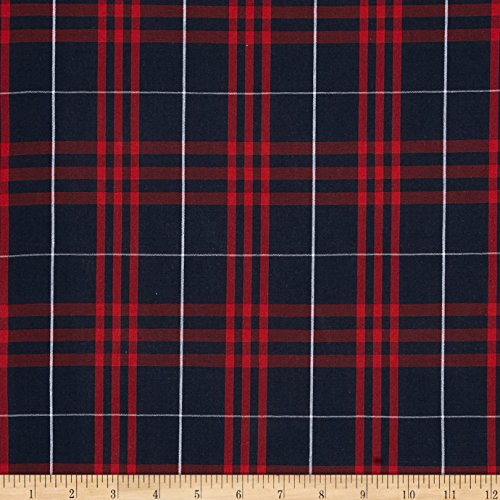 Carr Textile Poly/Cotton Uniform Plaid Navy/Red/White Poplin Fabric by The Yard