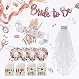 Rose Gold Bachelorette Party Decorations Kit- 37 PCS Bridal Shower, Bride to be Banner, Bride to be sash, Rose Gold Confetti Balloons, Rose Gold Straws, Veil, Bride Tribe Tattoo.