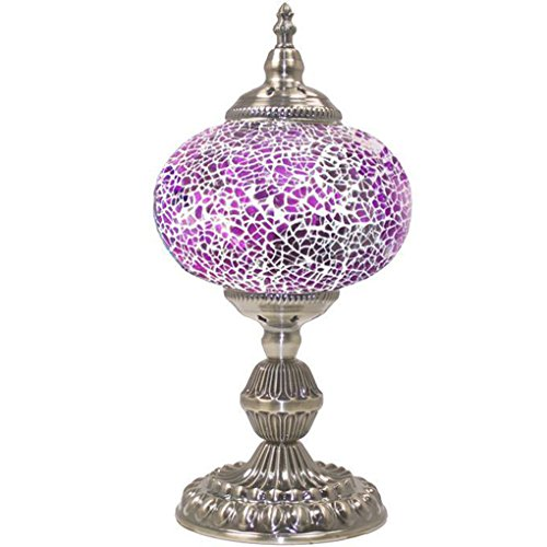 Silver Fever Handcrafted Mosaic Turkish Lamp -Moroccan Glass - Table Desk Bedside Light- Bronze Base (Purple Shade - Mosaic Purple Table Lamp