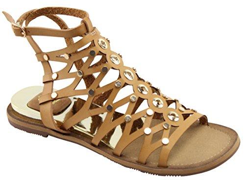 Cambridge Selezionare Donna Open Toe Caviglia Strappy Ingabbiato Gladiatore Borchiato Tacco Basso Sandalo Piatto Cammello