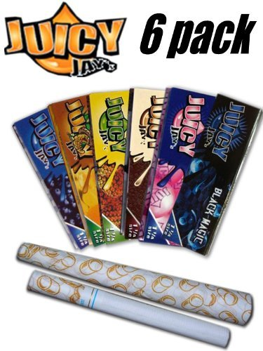 - 6 Pack Variety Juicy Jay Flavored Rolling Papers + Beamer Smoke Sticker