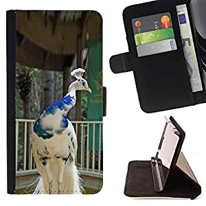 For Samsung Galaxy S6 Peacock Bird Porcelain White Blue Crown Style PU Leather Case Wallet Flip Stand Flap Closure Cover