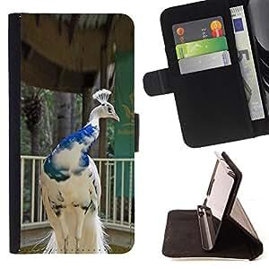 - Queen Pattern FOR Sony Xperia Z2 D6502 /La identificaci????n del cr????dito ranuras para tarjetas tir????n de la caja Cartera de cuero cubie - peacock bird porcelain white blue
