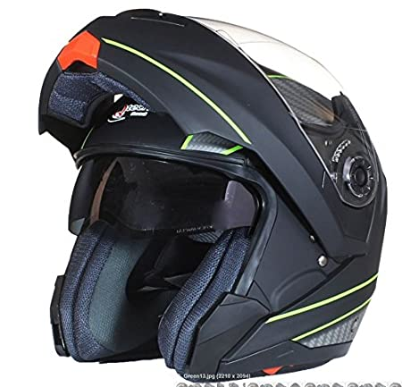 Qtech Klapp Motorradhelm mit DOPPELVISIER//Sonnenblende Gelb S 55-56cm