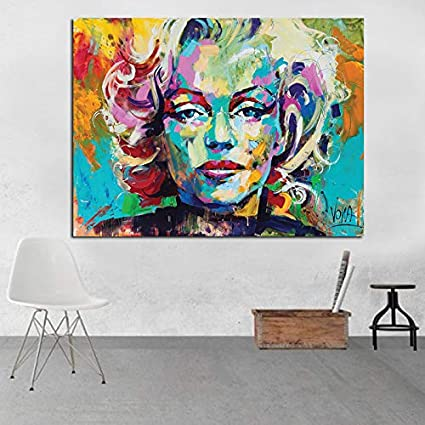 HGlSG Cuchillo Pintura al óleo Marilyn Monroe Impresión en Lienzo sobre Lienzo Retrato de Gran tamaño Cartel de Lienzo para Sala de Estar A1 50x70cm
