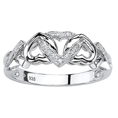 Platinum over Sterling Silver Genuine Diamond Accent Interlocking Heart Promise Ring Size 6