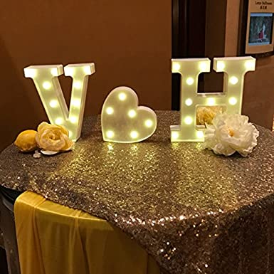 A-Z Alphabet Light White LED L/ámparas de noche Plastic Letter Standing Hanging Lighting para Wedding Party Dormitorio Decoraci/ón de Navidad by Moobom U