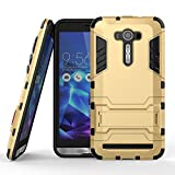 DWay ASUS ZenFone 2 Laser ZE551KL Case Hybrid Armor Design with Stand Feature 2 In 1 Combo Dual Layer Detachable Protective Shell Phone Hard Back Cover Case for ASUS ZenFone 2 Laser (ZE550KL/ZE551KL) 5.5inches (Gold)