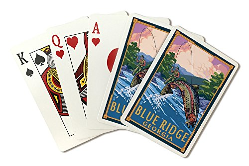- Blue Ridge, Georgia - Angler Fly Fishing Scene (Leaping Trout) (Playing Card Deck - 52 Card Poker Size with Jokers)